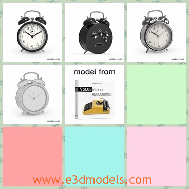 3d model the alarm clock - This is a 3d model of the alarm clock,which is the same shape with one another.The body of the clock  is one of other great models that goes together in the Vol.08 Interior accessories