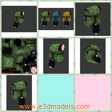 3d model the backpack inn green - This is a 3d model of the backpackin green,which is large enough to fill stuffs.The model is shining and the color is the most common one.