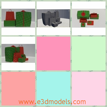 3d model the bags of the gifts - This is a 3d model of the bags of the gifts and presents,which is green and red.The colorful bags are charming.