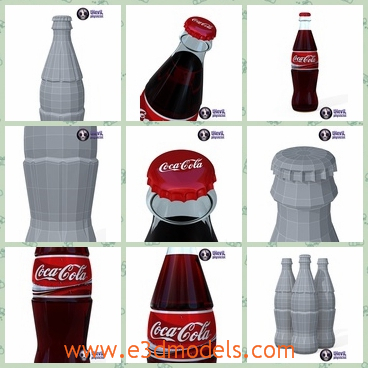 3d model the bottle of a soft drink - This is a 3d model of the bottle of a soft drink,Coca Cola.The model is popular now and around the world.