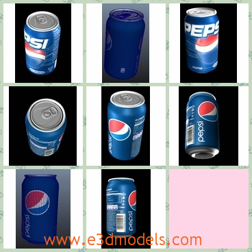 3d model the can of Pepsi - This is a 3d model of the can of Pepsi,which is the pop drink in the world.The image of the company was printed on the surface of the can.