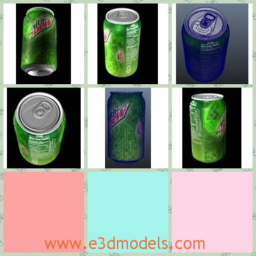 3d model the can of soft drink - This is a 3d model of the soda can and other soft drinks,which is made of aluminum materials.