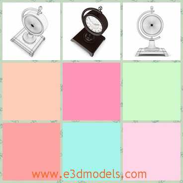 3d model the classic table clock with a square hol - This is a 3d model of the classic table clock,which has a square holder.The holder is made in metal material.