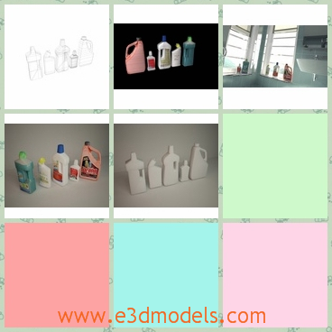 3d model the cleaning products - This is a 3d model of the cleaning products,which is used in the family for different purposes.