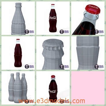 3d model the Coca Cola and the bottle - This is a 3d model of the Coca Cola and the bottle of it,which is red and printed the mark of the beverage.