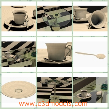 3d model the coffee cup - This is a 3d model of the coffee cup,which is placed on the table. There are 2 spoons with diferent designs.Scene is render ready.All models have real-world scale.