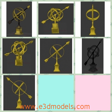 3d model the golden arrow - This is a 3d model of the golden arrow,which is the modern style .The holder is solid and stable.
