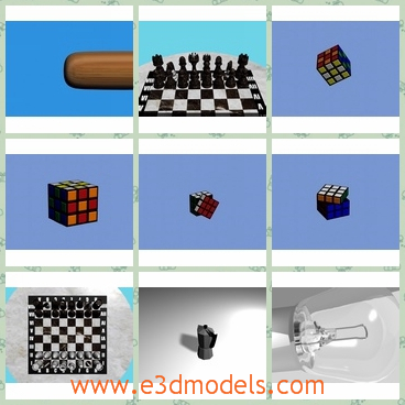 3d model the items in the home - This is a 3d model of the items in the home,which include the light,the cube,whte baseball,the bat,the chess and the bulb.