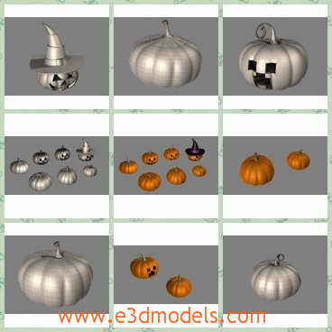 3d model the lantern made of pumpkins - This is a 3d model of the lantern made of pumpkins,which are presented in the famous holiday-Halloween in the western countries.