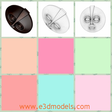 3d model the mask- round shape - This is a 3d model of the mask,which is an African style and the mask is round and it is symmetrical.