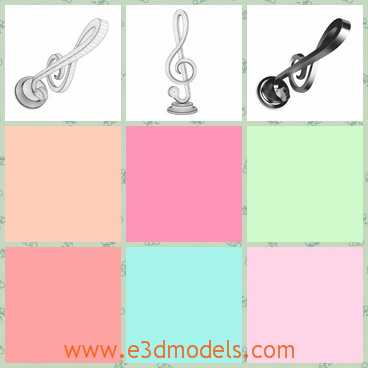 3d model the musical clef - This is a 3d model of the musical clef,which is a symbol statue on a holder.The symbol is simple but fine to see.