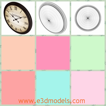 3d model the round wall clock - This is a 3d model of the round wall clock,which is an analog object.The model is hanging on the wall.
