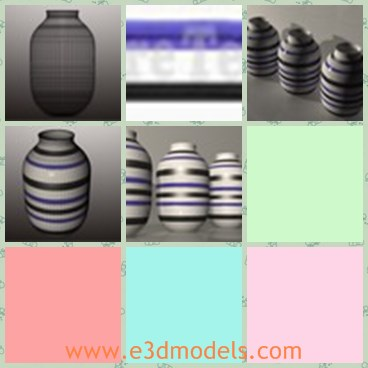 3d model the vase - This is a 3d model of the vase with stripes,which is ceramic and designed for storing.