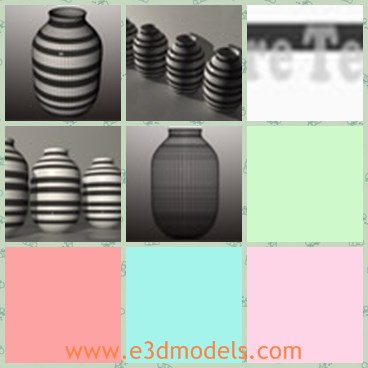 3d model the vase with strips - This is a 3d model of the vase with strips,which is big and designed with good quality.