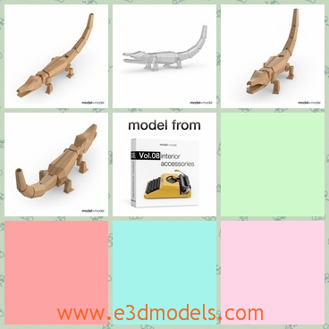 3d model the wooden toy statue - This is a 3d model of the woden toy,which is the statue of the crocodile and the model can be used as the decorative accessory in the room.