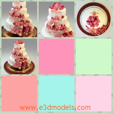 3d model wedding cake in the plate - This is a 3d model of th wedding cake in the plate,which is pretty and cute.The model is special and yummy.