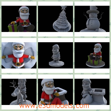 3d models of cartoon Christmas character pack - These 3d models are about a nice cartoon Christmas Pack. Santa is a really nice guy, with a lot of different positions. Sometimes he stands upright while at other time he just lie down.