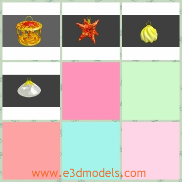 3d models of Christmas ornaments - These 3d models are about four Christmas ornaments. There is a yellow toy, a red star, a light yellow thing and a shell.