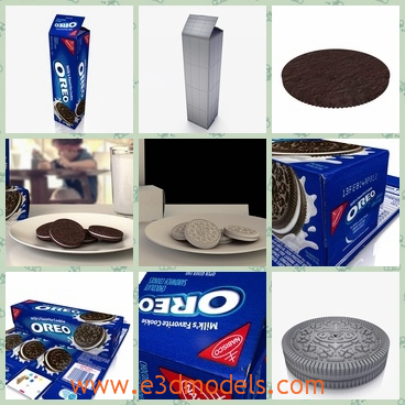 3d models of Oreo cookie collection - These 3d models are about an Oreo cookie collection in which you can see many Oreo cookies and white plates and blue boxes.