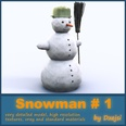 3d model the frosty snowman and a broom