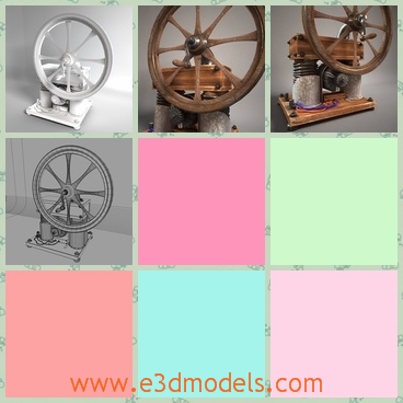 3d model antique crank generator - This is a 3d model of an antique Crank Generator with wheel and a little knob,which can be moved.And the brown color is more attractive.