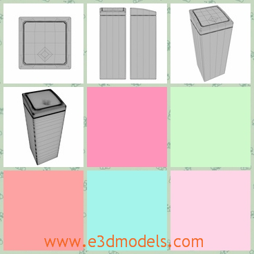 3d model of a bin - This is a 3d model which is about a tall dustbin. It is a cuboid in shape and we can touch it to make it open.