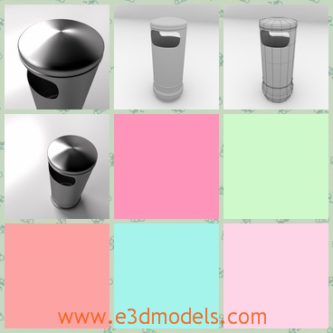 3d model of a trash can - This is a 3d model about a trash can which has a cylindrical shape and it is made of shiny iron.