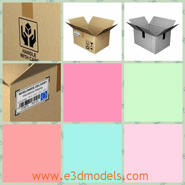 3d model the cardboard box - This is a 3d model of the cardboard box,which is the opened package.The box has the labels on the surface.