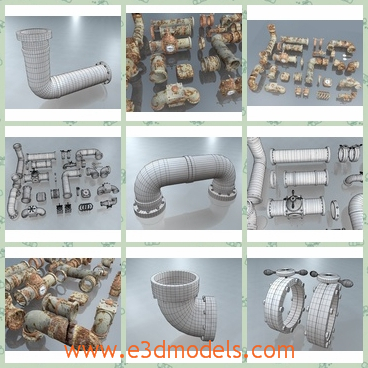 3d model the collection of pipes - This is a 3d model of collection of pipes,which is stable and various.The pipe is made in different sizes.
