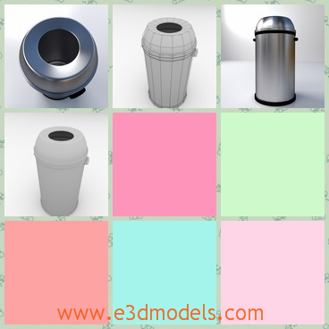 3d model the trash can with a hole - This is a 3d model fo the trash can with a hole,which is round and shining.The model is also called the dustbin.