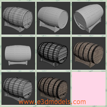 3d model the wine barrel with a cushion - This is a 3d model of the wine barrel with a cushion,which is lying on the floor and the wine of whiskey and beer are storing in it.