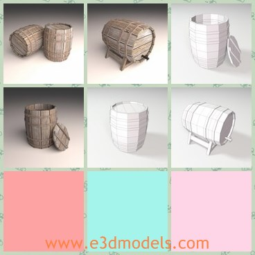 3d model the wooden barrel - This is a 3d model of the wooden barrel,which is round and made for storing water.