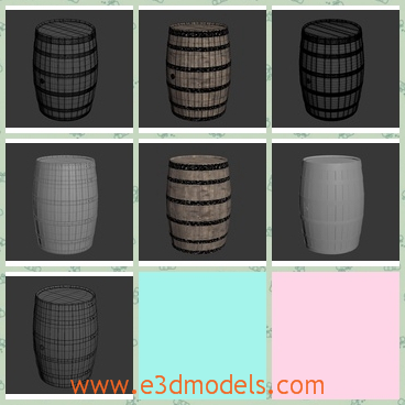 3d model the wooden keg - This is a 3d model of the wooden kegs,which are also called the barrels.The barrels are made in fine textures and high quality.