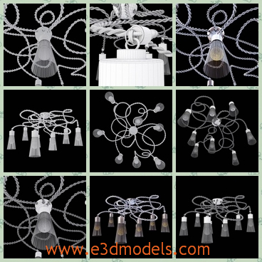 3d model a chandelier with detailed designs - This is a 3d model about a chandelier with detailed designs on the roof,which has several bulbs with it.