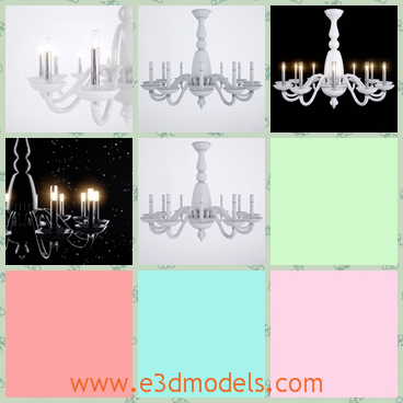 3d model of a luxurious chandelier - This 3d model is about a luxurious Barovier toso Palladiano chandelier. This chandelier has many small lamps and a pretty white structure.