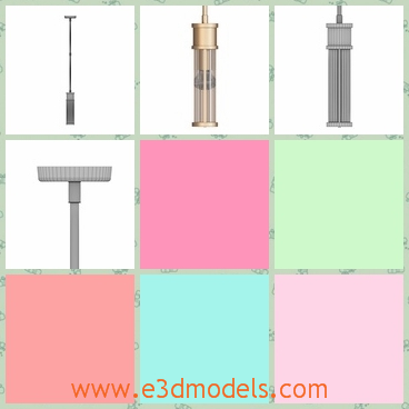 3d model of Allen mini pendant - This 3d model is about a queer thing which looks like a pump. It has a big half transperant tube and a small handle with which we can pull or push.