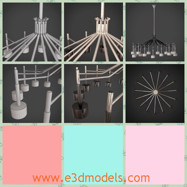 3d model suspension lamp - This is a 3d model about the ELLA SUSPENSION lamp hangling on the wall.It composes of a main stick on the top and several lamps below,forming a round.