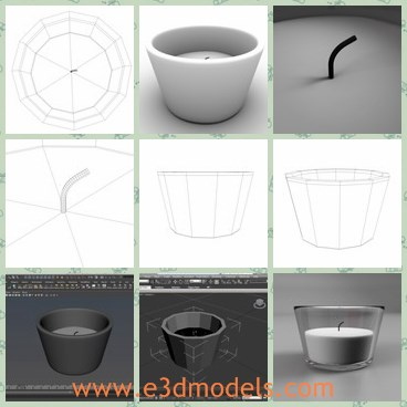 3d model the candle - This is a 3d model of the candle in glass candleholder,which was designed to provide a high definition in a low poly.The candle is white and smooth,which is the common products in life during 1960s.