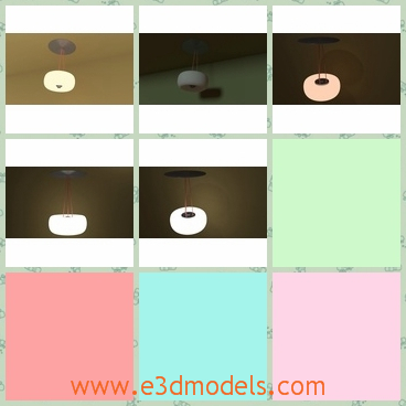 3d model the ceiling lamp - This is a 3d model of the ceiling lamp,which is lighting and round.The shape of the lamp is cute and the function is obvious.