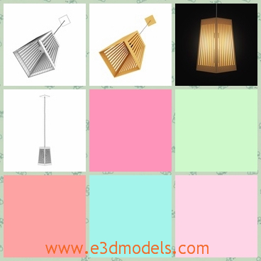 3d model the ceiling lamp with a wooden cover - This is a 3d model of the ceiling lamp with a wooden cover,which is hanging on the middle of the room and the lamp is fixed by the stick.