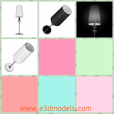 3d model the lamp in black - This is a 3d model of the lamp in black,which is big and heavy.The stick of the lamp is equiped with a small ornament.