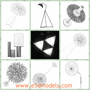 3d model the lamp in different shapes - This is a 3d model of the lamp in different shapes,which are special and outstanding.The model are modern and popular around the world.