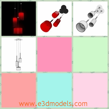 3d model the lamp in red - This is a 3d model of the lamp in modern style,which is red and gathered together in the room.