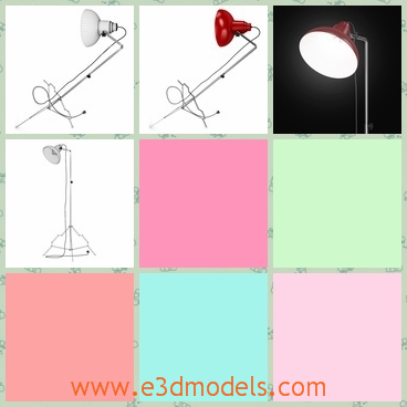 3d model the lamp with a long leg - This is a 3d model of the lamp with a long leg,which is special and movable.The lamp is compatible with other materials.