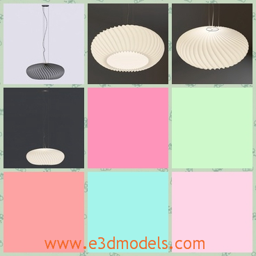 3d model the light with pendants - This is a 3d model about the light with pendants,which is round a round light.The model is white and modern.