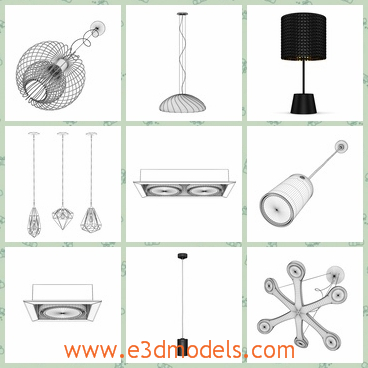 3d model the lights in different shapes - This is a 3d model about the lights in different shapes,which are colorful and various.The model includes the table track,the ceiling lamp,the table lamp,the floor lamp and many more.