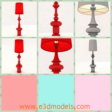 3d model the red floor lamp - This is a 3d model of the red floor lamp,which is standing on the ground.The lamp is in the modern style.