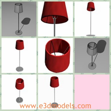3d model the red lamp - This is a 3d model of the red lamp,which is the popular floor lamp in the living room.The lamp has a long and hard holder.
