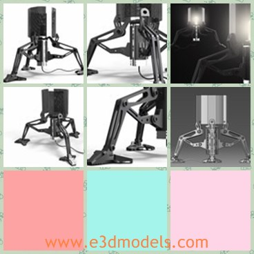 3d model the table lamp - This is a 3d model of the table lamp,which is movable and modern.The head of the lamp is big and the legs are long and special.