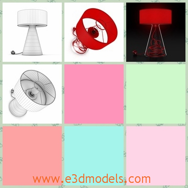 3d model the table lamp in red - This is a 3d model of the table lamp in red,which is special and outstanding.The model is placed on the desk and the made with high quality.